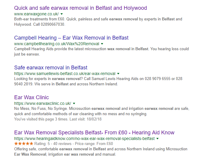 Earwax removal Belfast Search Return