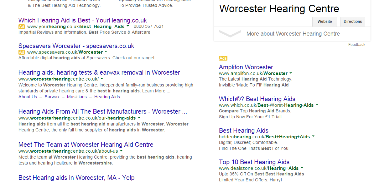 search returns for best hearing aids Worcester
